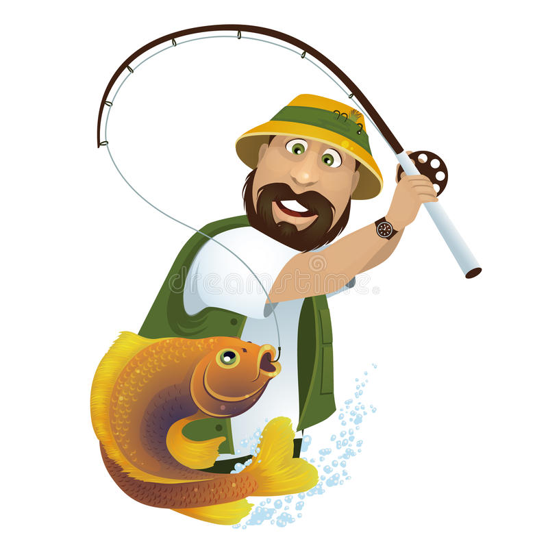 Fisherman. A happy fisherman catches fish from the lake royalty free illustration