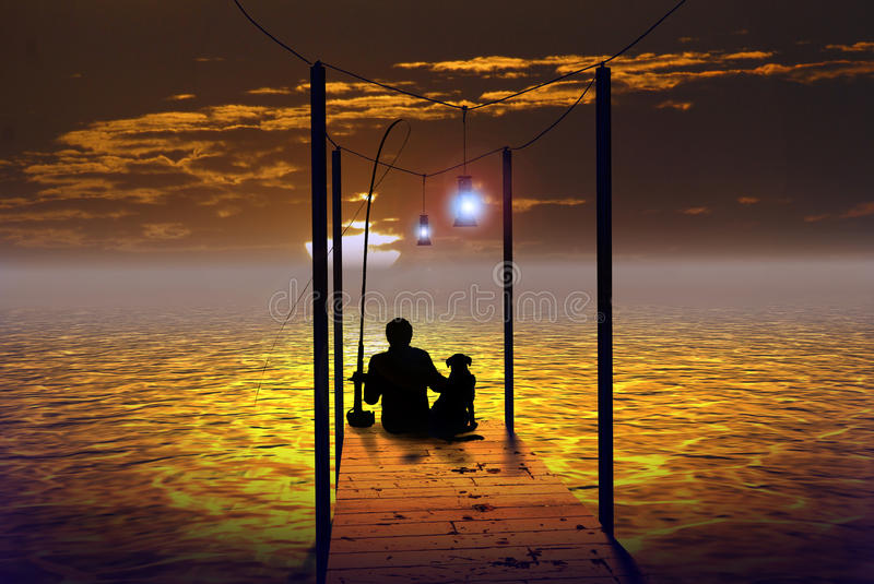 The fisherman and his dog. Sat on a wooden pontoon, a fisherman and his dog look at the golden rising sun over the water royalty free illustration