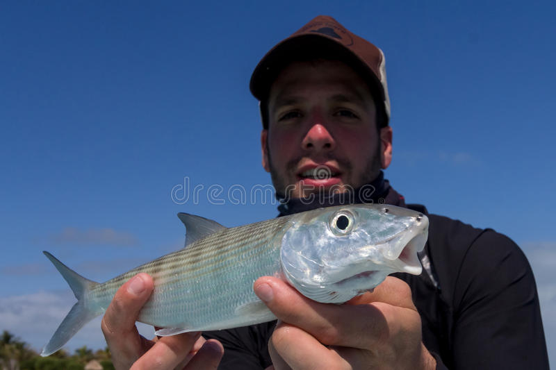 Fisherman holding a Bonefish stock images