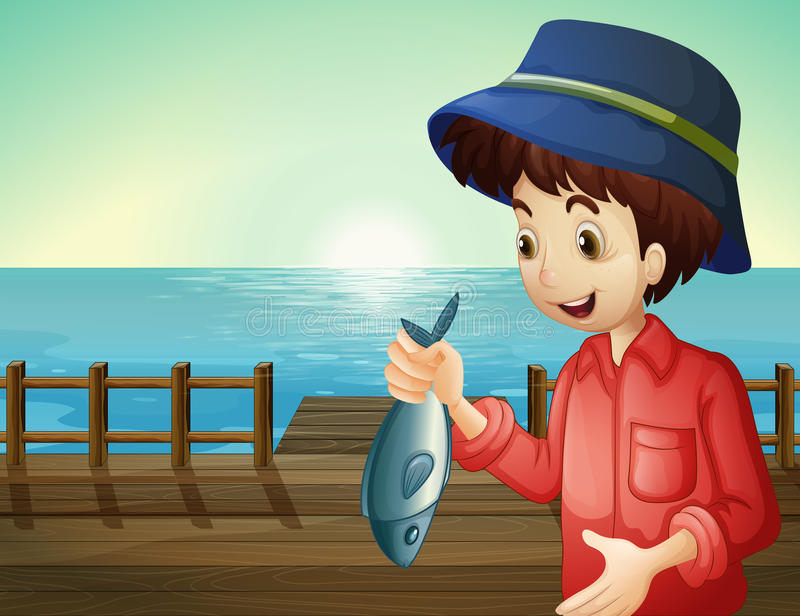 A fisherman holding a fish at the seaport. Illustration of a fisherman holding a fish at the seaport royalty free illustration