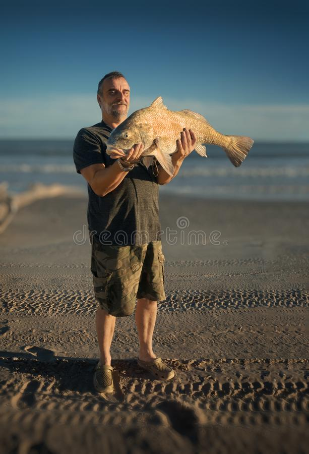Fisherman holds a huge fish in the background of the sea. Black drum Pogonias cromis stock photo