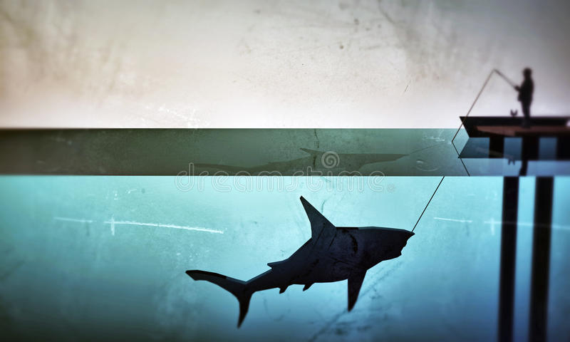 Fisherman hunting a big shark royalty free illustration