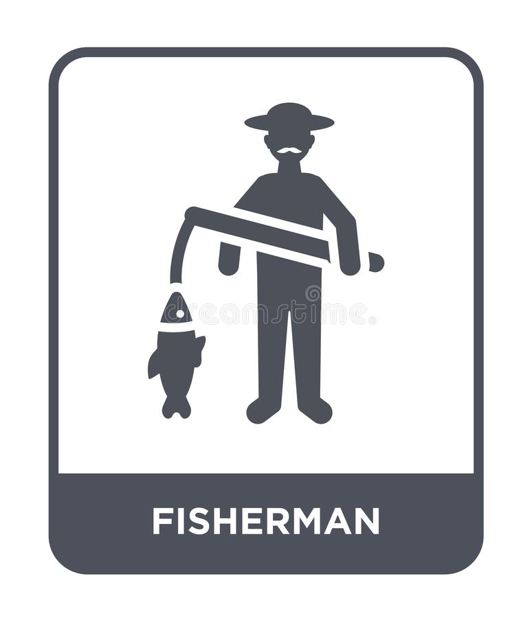 Fisherman icon in trendy design style. fisherman icon isolated on white background. fisherman vector icon simple and modern flat. Symbol for web site, mobile royalty free illustration