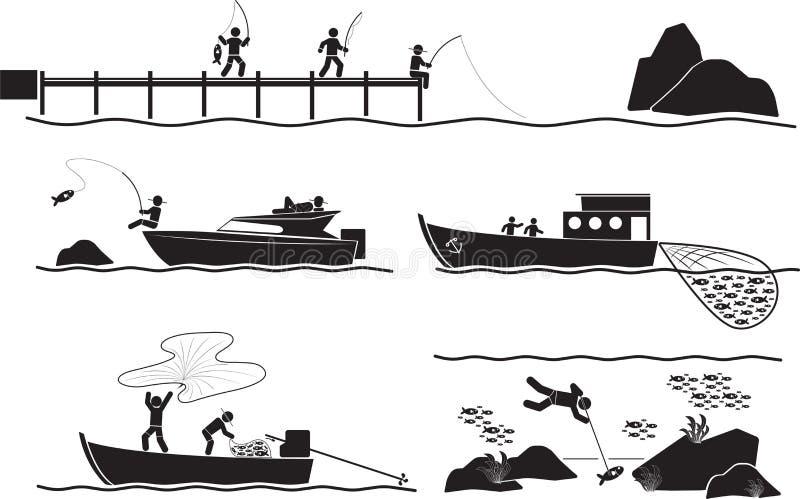 Fisherman. Illustration - Black fisherman icon set royalty free illustration