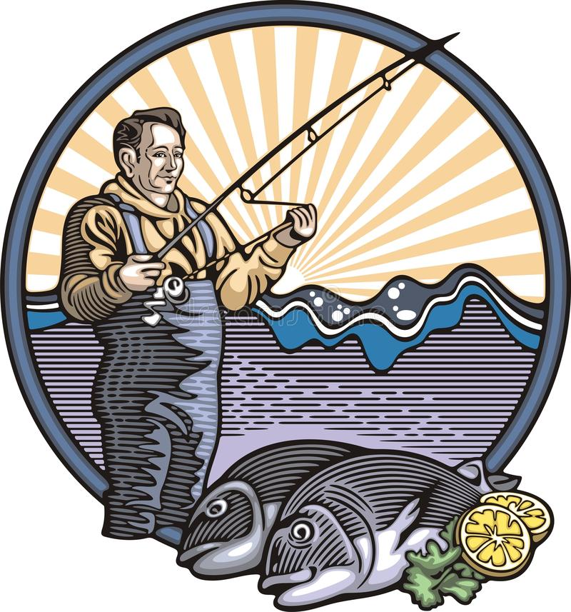 Download Fisherman Vector Illustration In Woodcut Style Stock Vector - Illustration of fish, graphic: 45253170