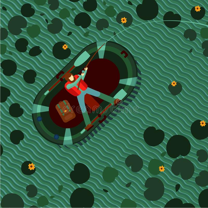 Fisherman in an inflatable boat on a lake. Man fishing in a pond. Top view vector illustration. Flat style cartoon. stock illustration