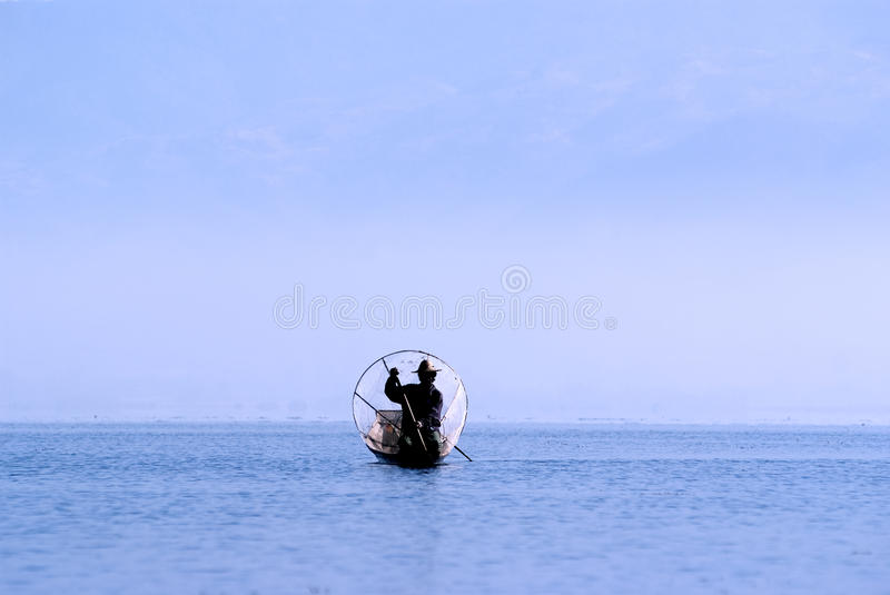 Fisherman on Inle Lake royalty free stock photo