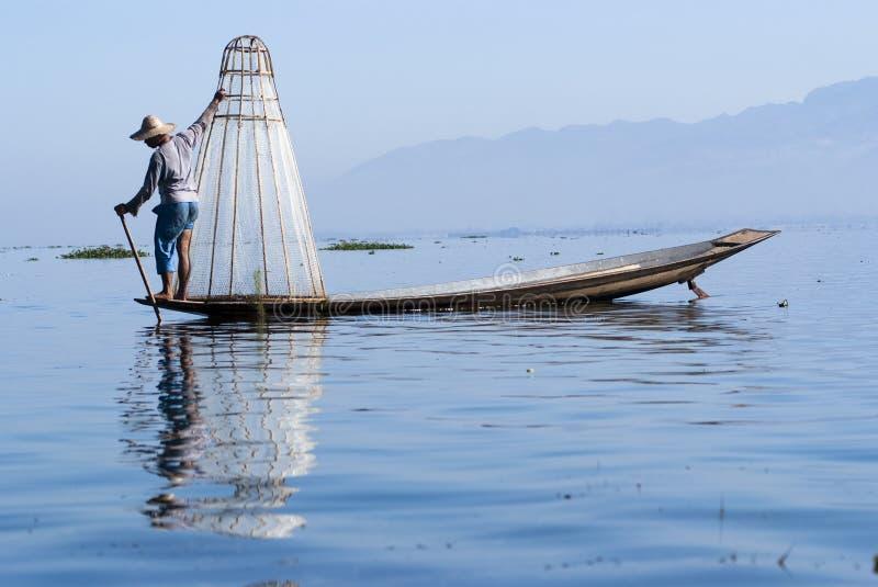 Fisherman on Inle Lake royalty free stock images