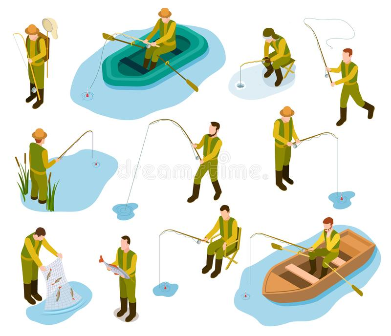 Fisherman isometric. Fishing in river pond sea tackle rubber fish bucket boat fishing rod 3d isometric vector set stock illustration