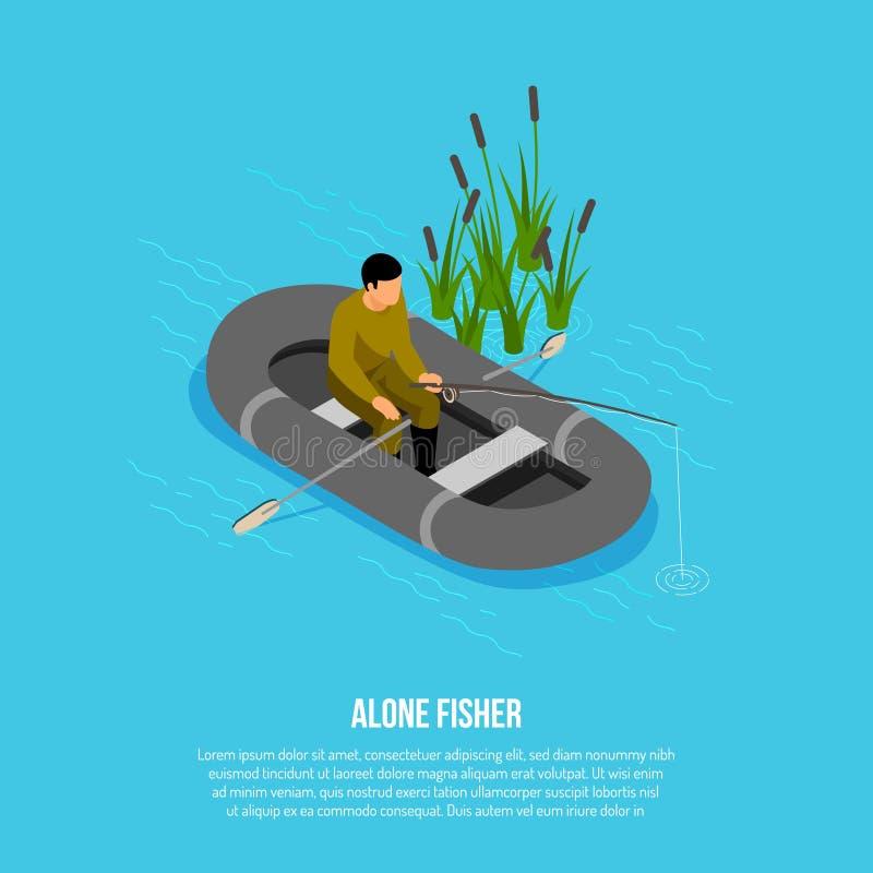 Fisherman Isometric Illustration stock illustration