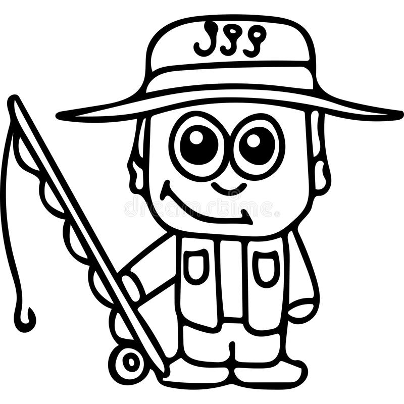 Fisherman Kids Coloring Page Stock Illustration - Illustration of ...
