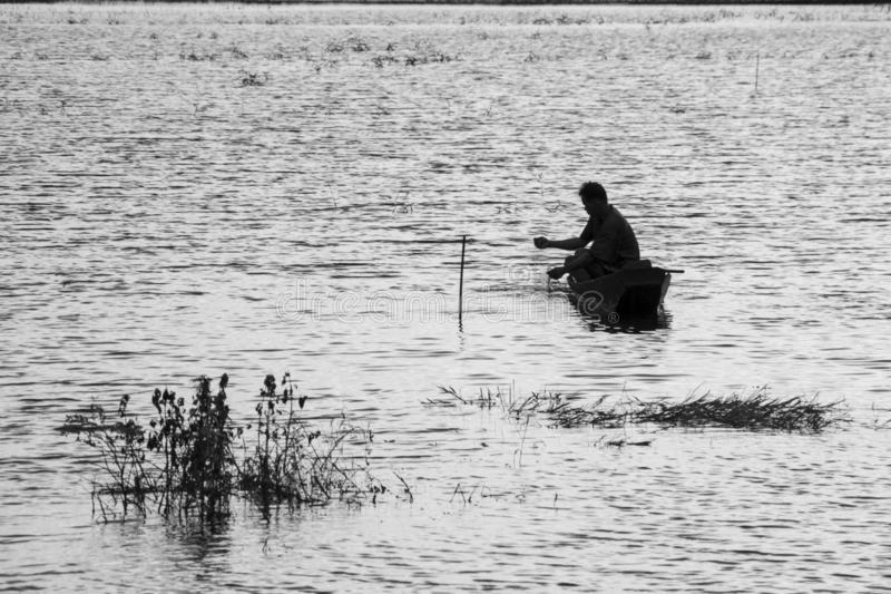 Fisherman in the lake black and white royalty free stock photos