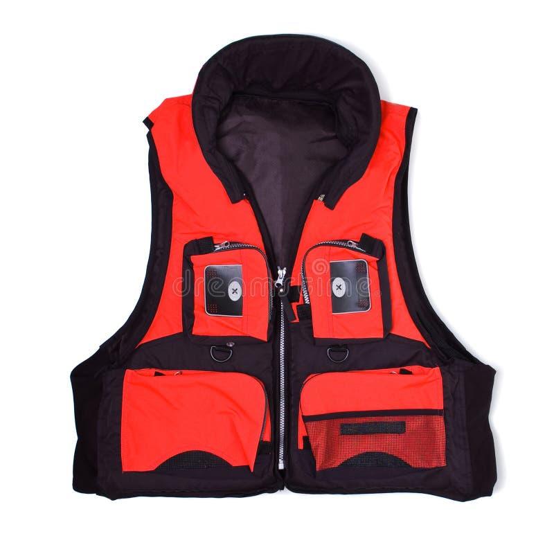 Fisherman life jacket with pockets. Fisherman life jacket isolated on white background stock images