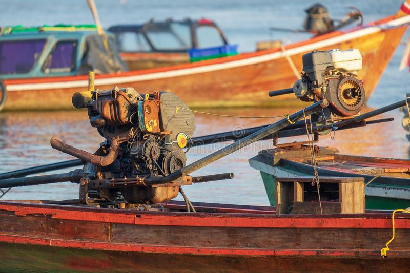 Fisherman Long Tail Boat Engine, Sea Transport and Travel Machine in the Ocean royalty free stock photos