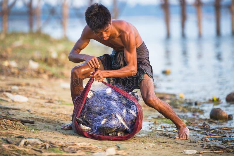 Fisherman near U Bein royalty free stock images