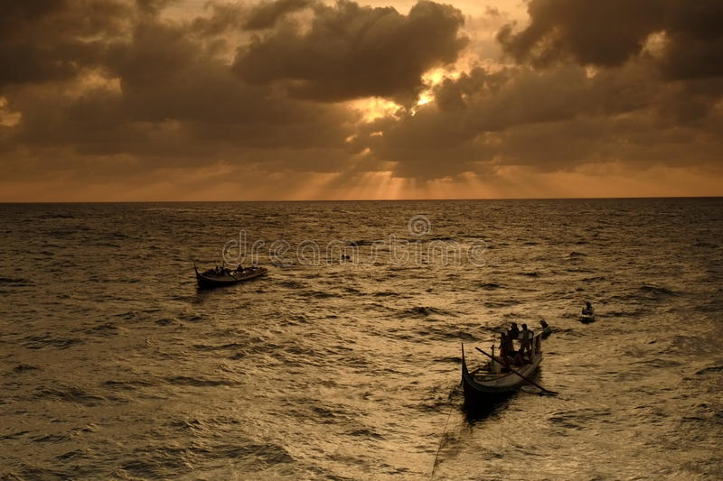 Download Fisherman Boat Offshore Ray Of Light Stock Image - Image of mirror, cloud: 39899169