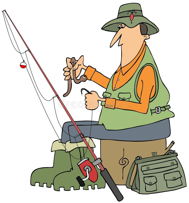 Fisherman putting a worm on a hook stock illustration