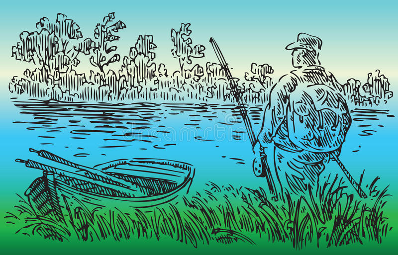 Download Fisherman On The River Stock Photo - Image: 27069650
