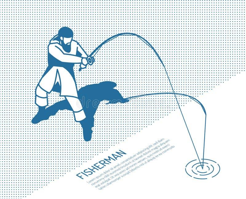 Fisherman With Rod Isometric Illustration stock illustration