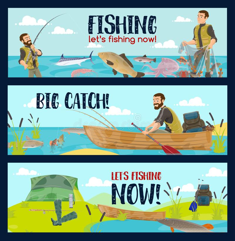 Fisherman with rods, tackles and fish catch. Fishing sport tours or fisherman tackles and equipment shop. Vector cartoon fisher man in rubber boat on lake or sea stock illustration