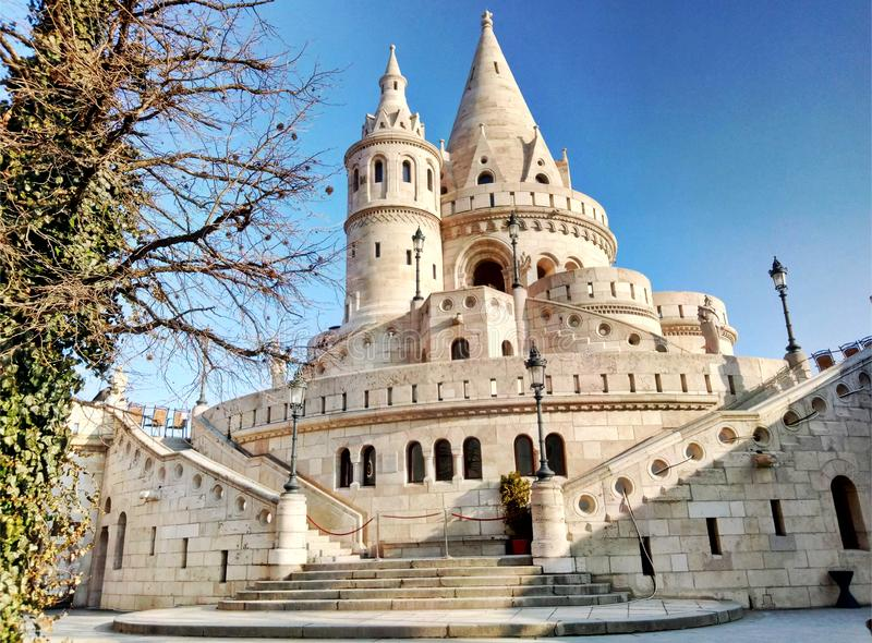 Fisherman`s bastion in Budapest Hungary. View on white towers of the bastion. Late winter, early spring stock image