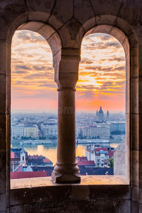 Fisherman`s Bastion is an important landmark of Budapest. View of the city from a height, panorama at sunrise. royalty free stock photo