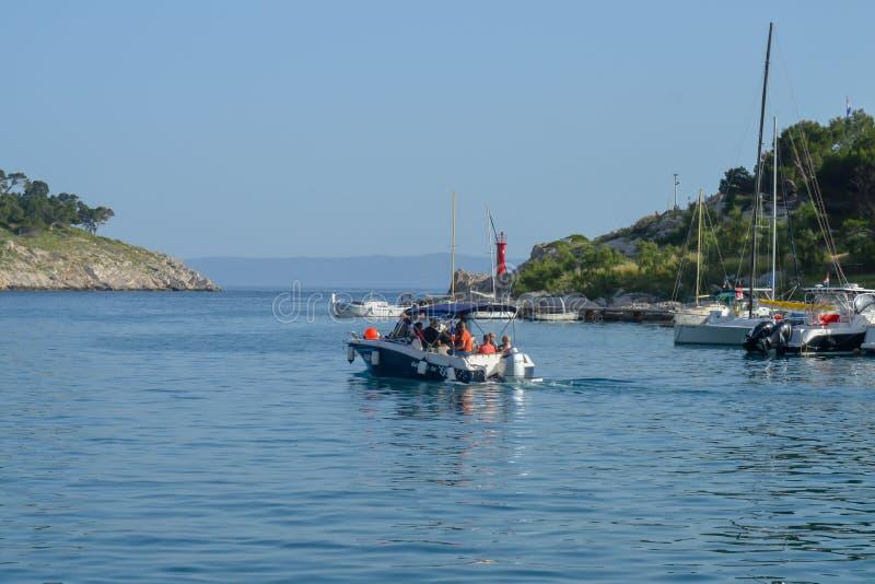 Fisherman`s boats in wharf in Makarska, Croatia on June 9, 2019. royalty free stock image