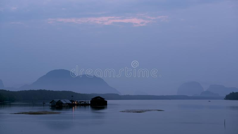 Fisherman`s house in the sea at phang nga Thailand stock photo