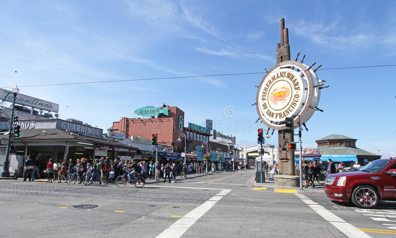 Fisherman's Wharf in San Francisco, CA, USA. Fisherman's Wharf is a neighborhood and popular tourist attraction in San Francisco, California. It roughly royalty free stock image