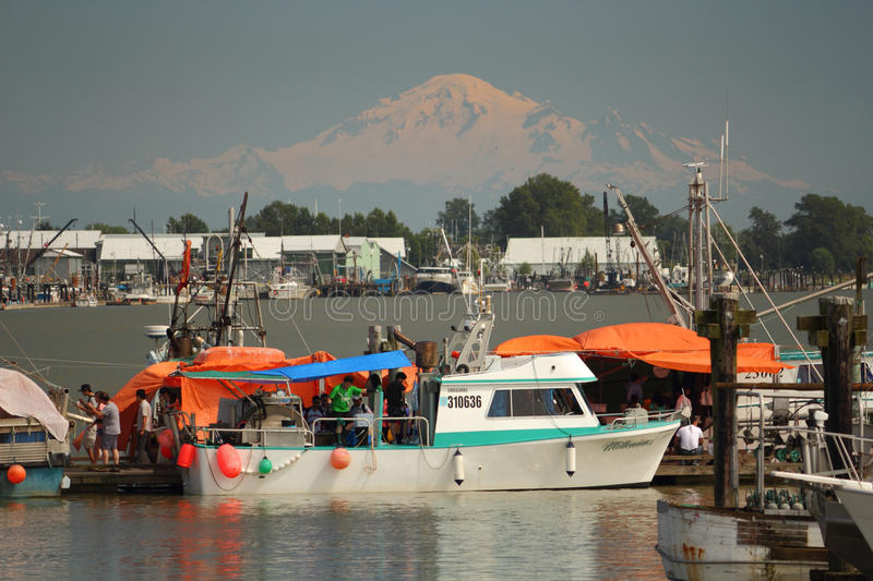Fisherman's Wharf, Steveston and Mount Baker stock photography