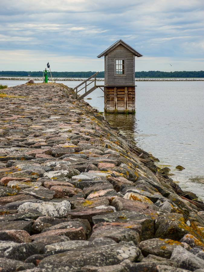 Fisherman`s wooden house. At the pier, Hiiumaa, Estonia royalty free stock images