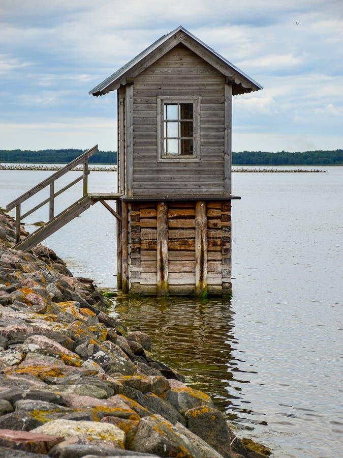 Fisherman`s wooden house. At the pier, Hiiumaa, Estonia stock photo