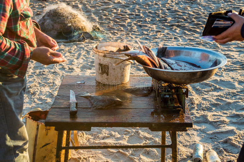 Fisherman selling fish straight from boat after morning catch.  stock photography