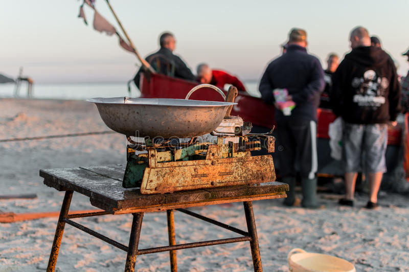 Fisherman selling fish straight from boat after morning catch.  stock photo