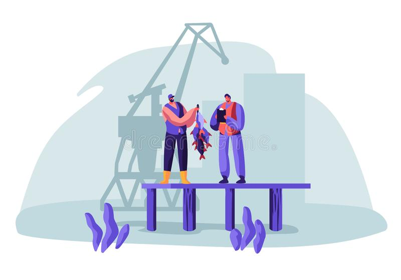Fisherman Show Fish Haul to Customer Standing on Pier with Loading Crane on Background. Buyer Watching Fishery Catch in Dock. From Hand of Fisher Man. Fishing stock illustration