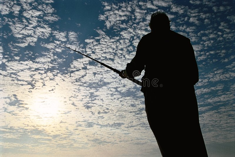Download Fisherman silhouette stock image. Image of clouds, cloudy - 2318591