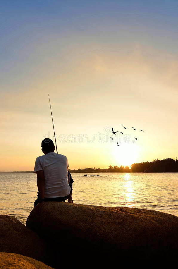 Download Fisherman Silhouette On The Beach Stock Image - Image of landscape, horizon: 39510281