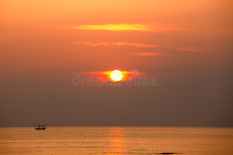 Fisherman Silhouette On Sunrise, Thailand Stock Images