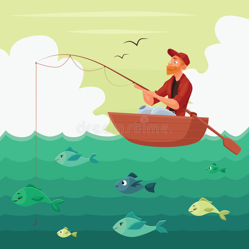 Fisherman sitting in the boat vector illustration