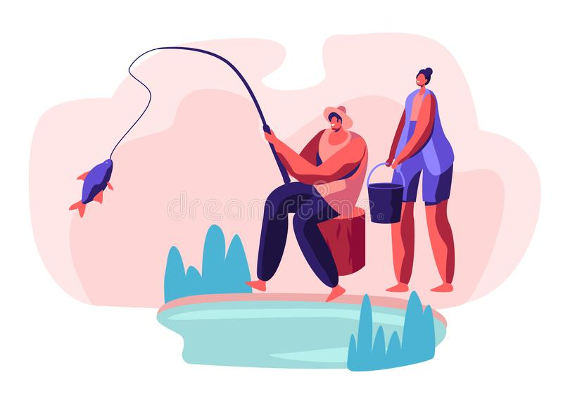 Fisherman Sitting on Coast of Pond Catching Fish, Woman Stand with Bucket. People Relaxing on Nature, Weekend Leisure, Family vector illustration