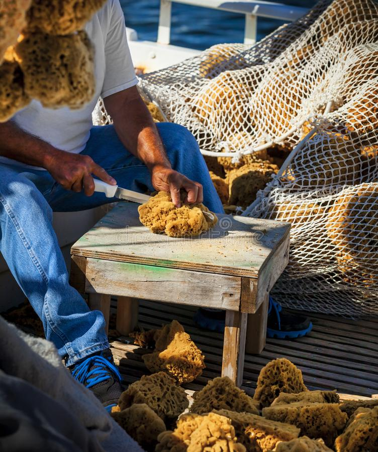 FISHERMAN SITTING CUTTING A SEA SPONGE WITH KNIFE ON FISHING BOAT. Fisherman sitting and cutting a sea sponge with knife on stool in fishing boat and fishing stock photos