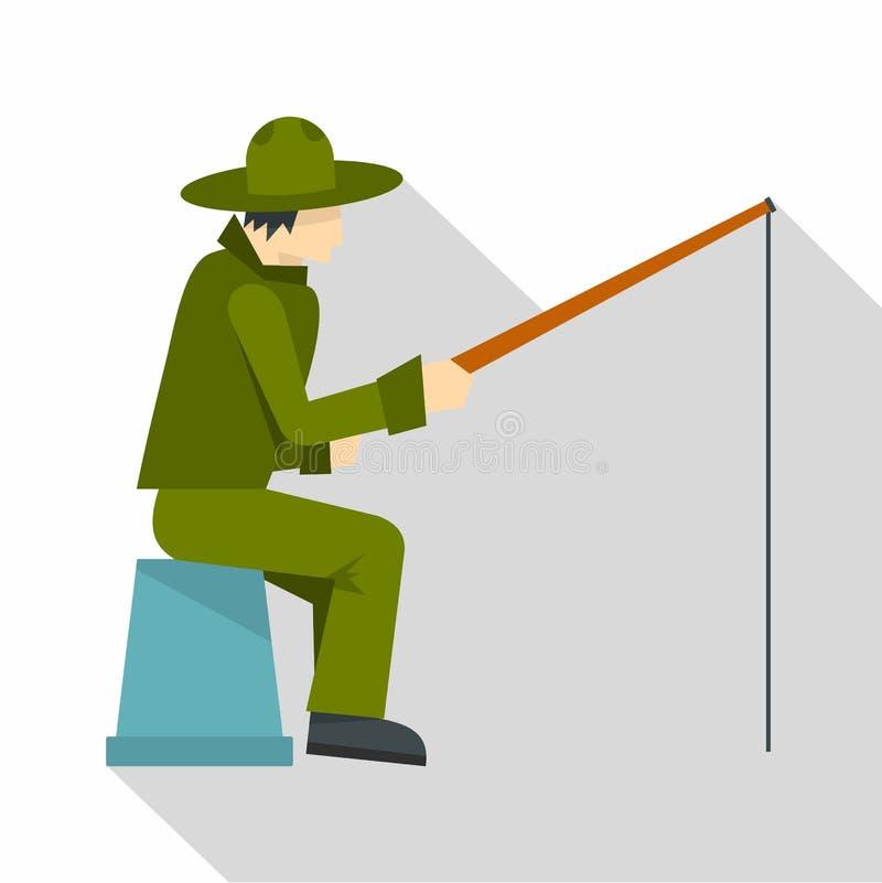 Fisherman sitting with fishing rod icon flat style vector illustration