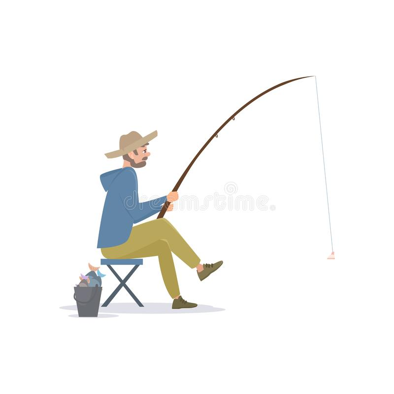 Fisherman Sitting on Folding Chair Beside a Bucket with Fish Caught, Male Fisher Character with Fishing Rod, Vector royalty free illustration