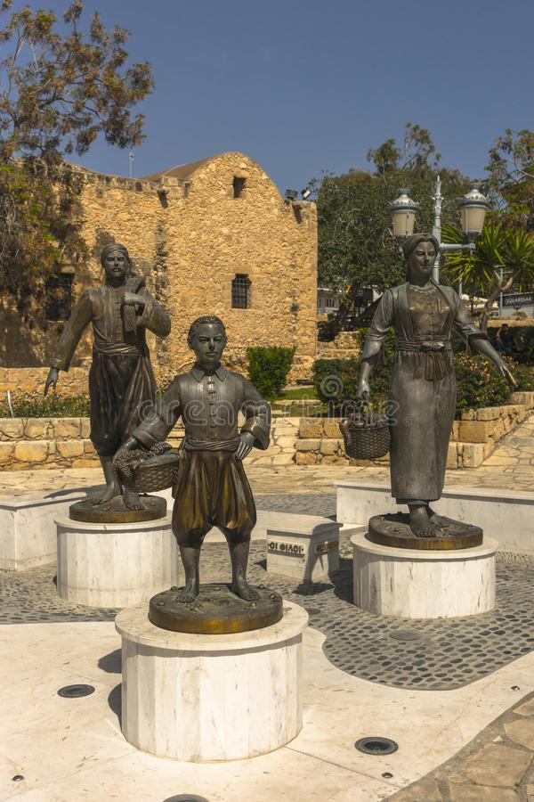 Agia Napa monument. Fisherman , son and wife statue in Ayia Napa , Cyprus Island . Europe . All family monuments royalty free stock image