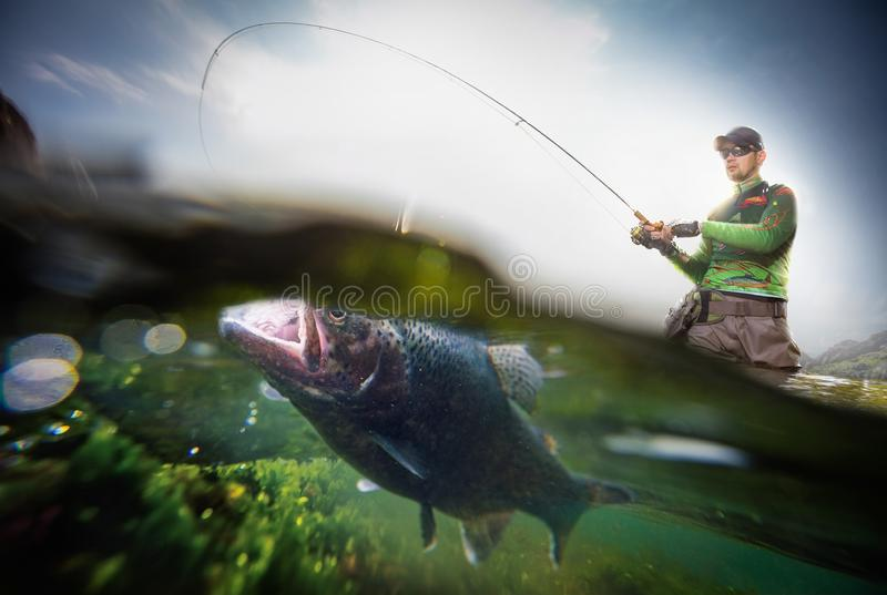Fisherman and trout, underwater view. royalty free stock photography
