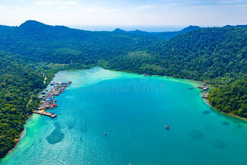 Fisherman valley between sea and forest and mountain at Koh Kood East of Thailand royalty free stock images