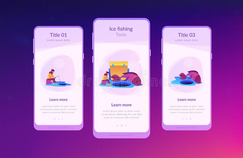 Ice fishing app interface template. Fisherman in warm clothes with a rod fishing on ice and a huge fish in winter. Ice fishing, ice fishing tools, winter royalty free illustration