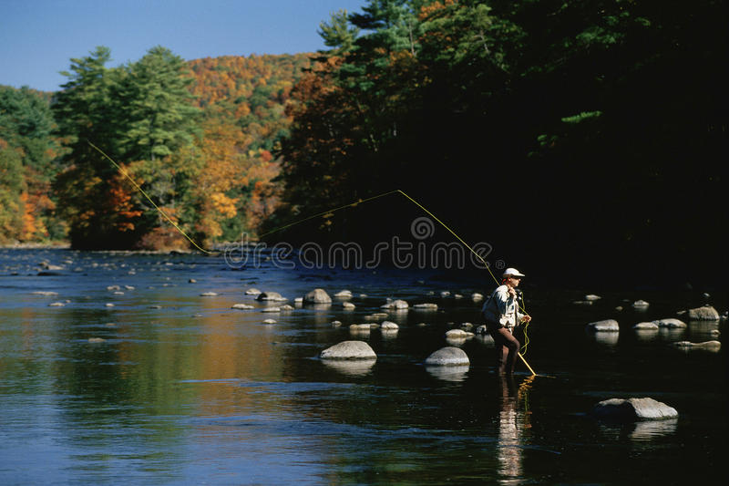 Fisherman in Water royalty free stock photos