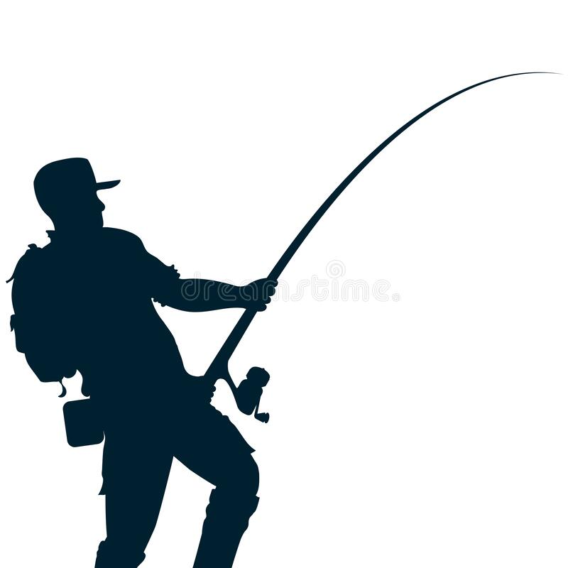 Free Fisherman With Fishing Rod In Hands And Tackle Silhouette Stock Image - 173143791