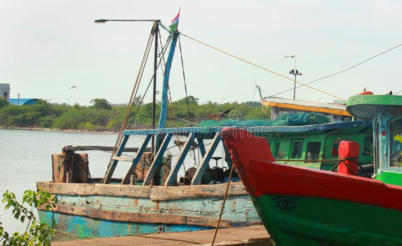 Fisherman boats on a indian small harbor. stock photography